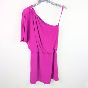 White House Black Market Purple One Shoulder Dress